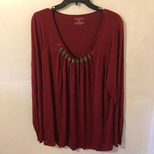 NEW Lane Bryant Women's Red Blouse Top Size 22/24